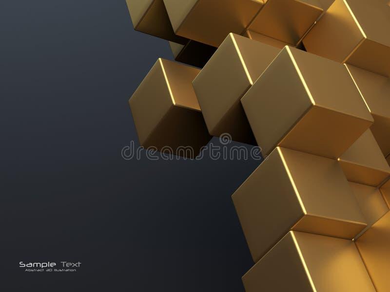 Gouden kubussen abstracte achtergrond stock illustratie