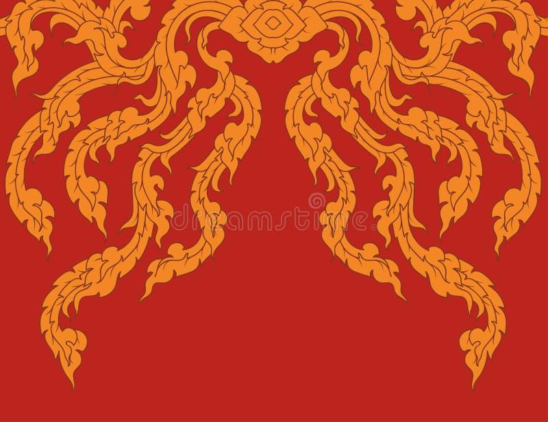 Gouden kunstpatroon op een rode scène stock illustratie