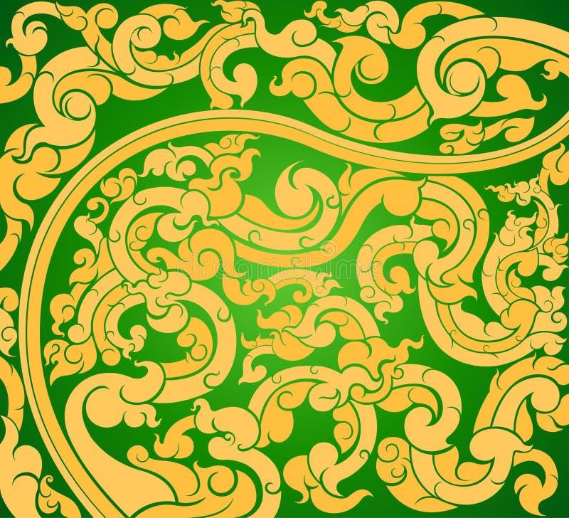 Gouden kunstpatroon op green stock illustratie
