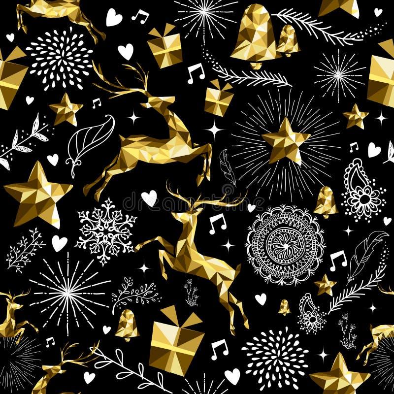 Gouden lage poly retro herten van het vakantie de naadloze patroon stock illustratie