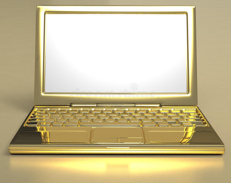 Gouden Laptop royalty-vrije illustratie