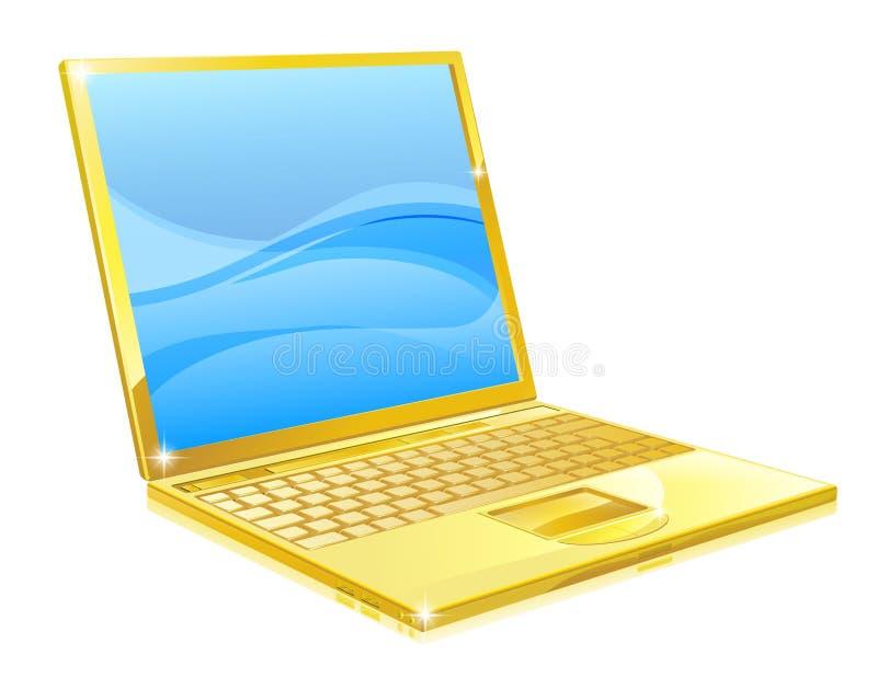 Gouden laptop computer royalty-vrije illustratie