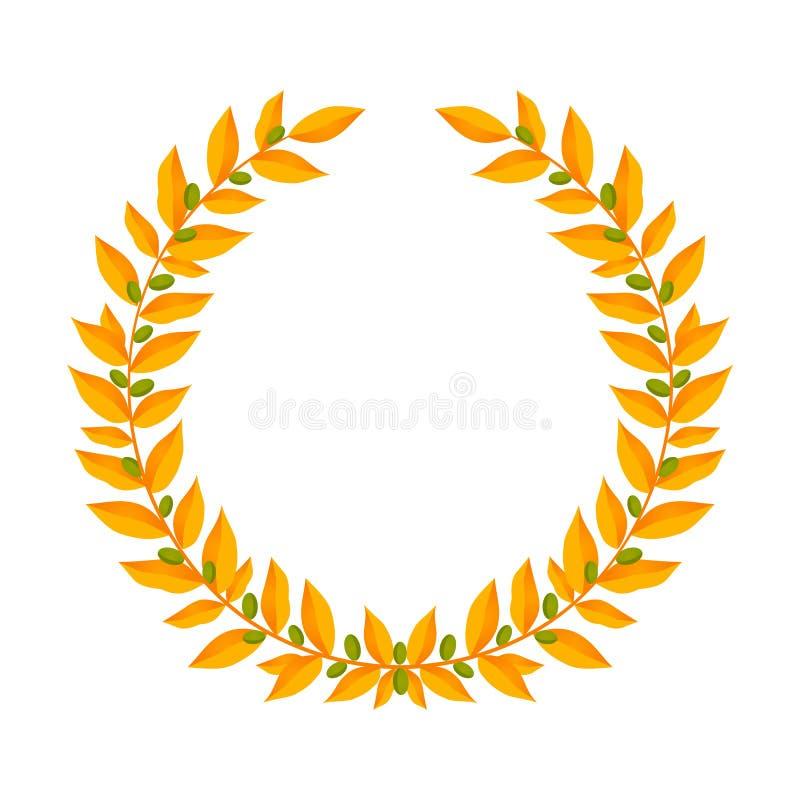 Gouden Laurel Wreath De uitstekende elementen van het kronen heraldische ontwerp met bloemendiekaders uit laurier worden samenges stock illustratie