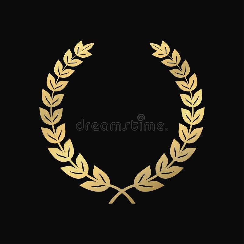 Gouden Laurel Wreath Een symbool van overwinning, triomf Uitstekend teken vector illustratie