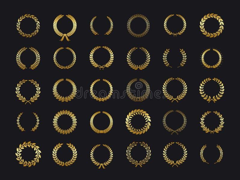 Gouden laurelskronen De gouden olijf eiken kroon van de laurierlaurier van de de bladerrijke tarwe verlaat de vector van de de wa royalty-vrije illustratie