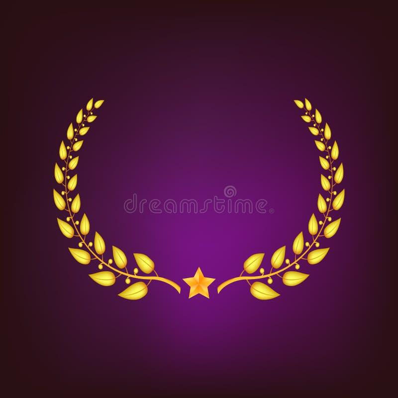 Gouden lauwerkrans met ster vector illustratie