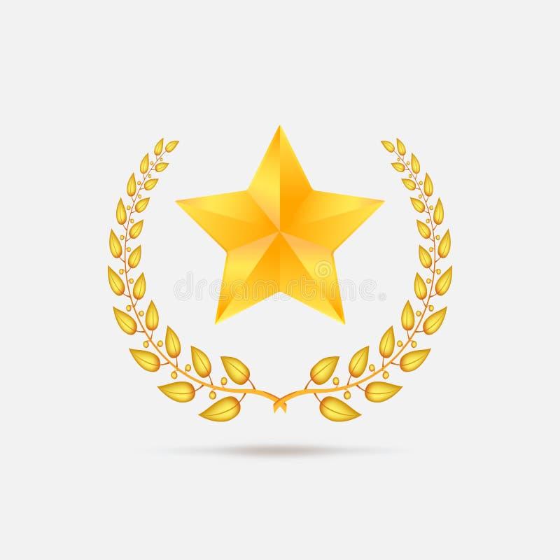 Gouden lauwerkrans met ster royalty-vrije illustratie