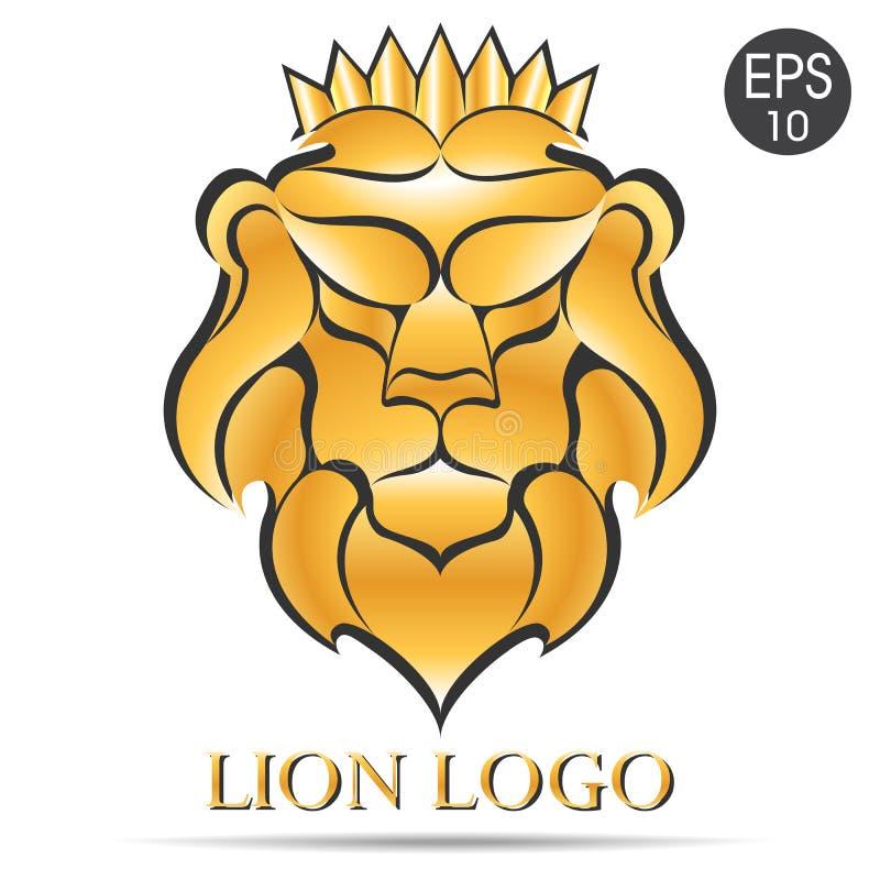 Gouden Leeuwembleem Vectorillustratie van Leeuw in de kroon royalty-vrije illustratie
