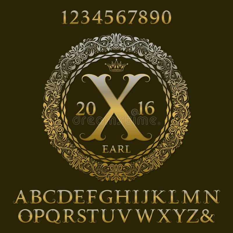 Gouden letters en getallen met aanvankelijk monogram Koninklijke doopvont vector illustratie