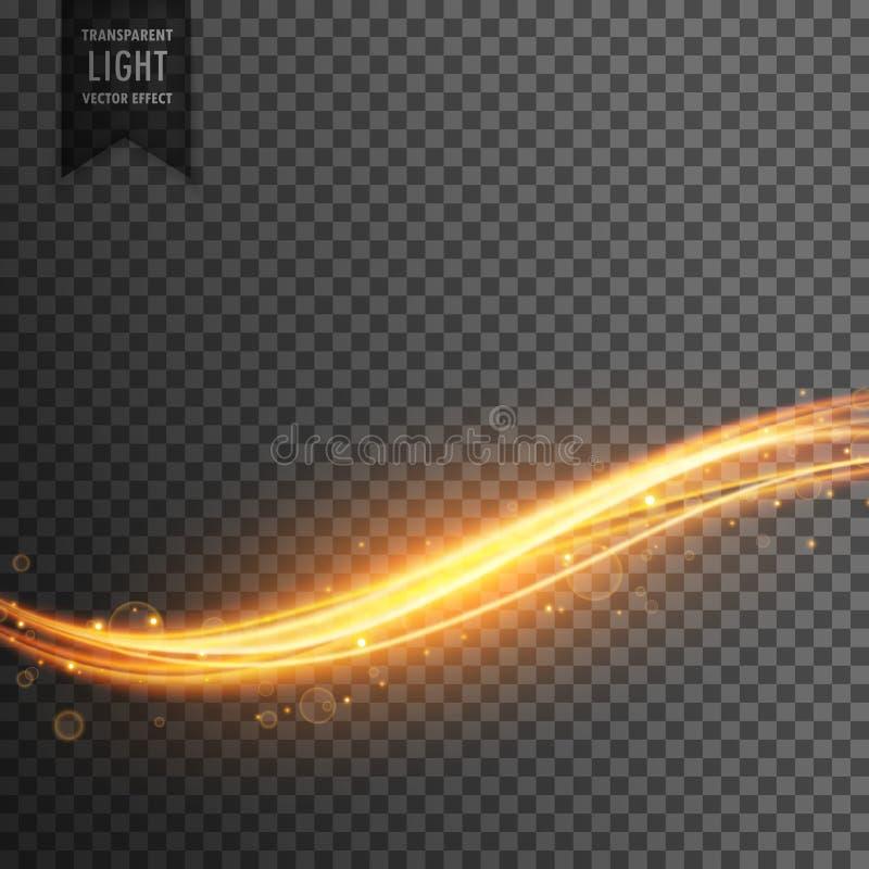 Gouden lichte strook transparante effect achtergrond vector illustratie