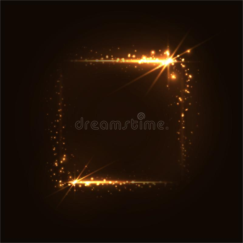 Gouden lichtgevend kader Glanzende gouden rechthoek op een donkere achtergrond stock foto's