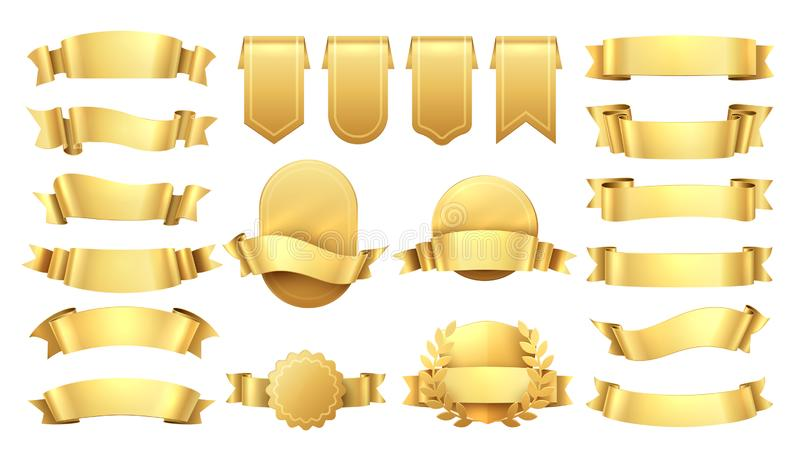 Gouden Linten Glanzende oude etiketten, de elementen van de golfbanner, bevorderings retro decoratie, gele prijsverkoop Realistis stock illustratie