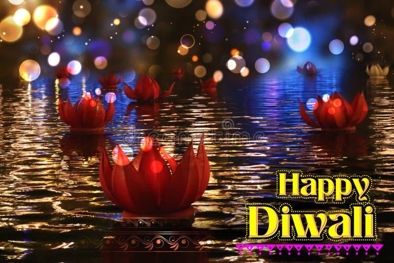Gouden lotusbloem gevormde diya die op rivier op Diwali-achtergrond drijven stock afbeeldingen