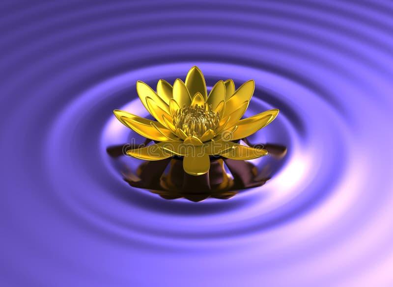 Gouden lotusbloemwaterlelie op meer royalty-vrije stock afbeeldingen