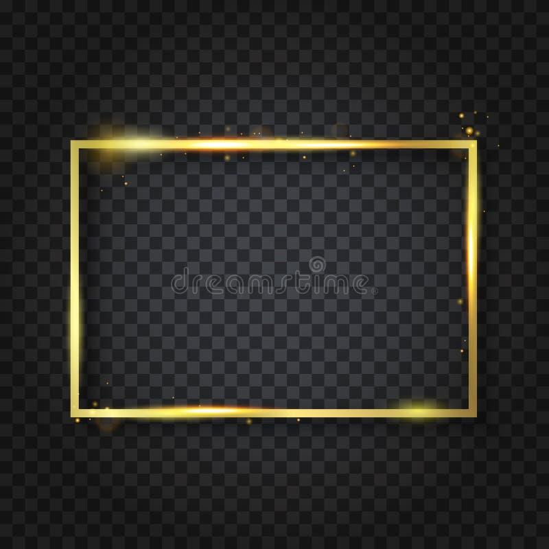 Gouden luxe glanzend gloeiend uitstekend kader met bezinning en schaduwen Geïsoleerd op transparante achtergrond gouden grensdeco vector illustratie