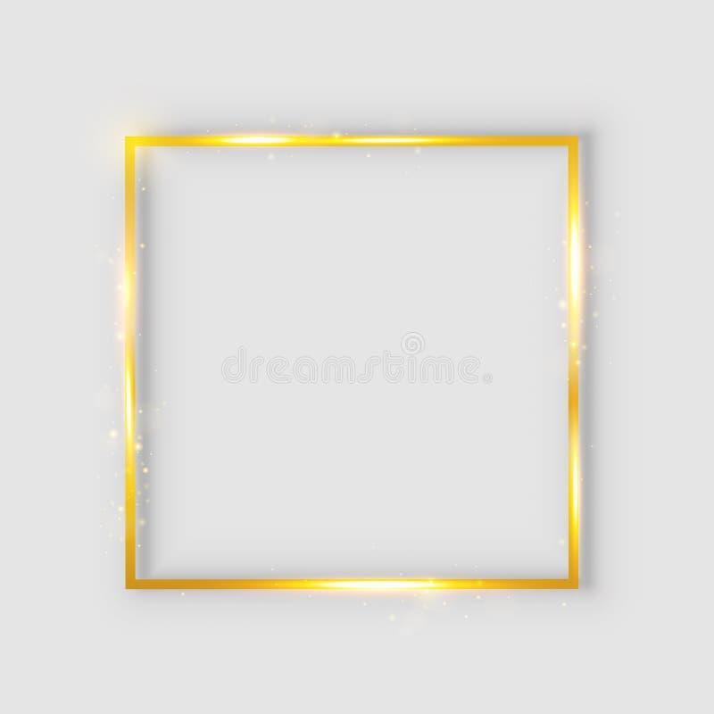 """Gouden luxe glanzend gloeiend uitstekend kader met bezinning en schaduwen Geïsoleerde gouden grensdecoratie †""""voor voorraad stock illustratie"""