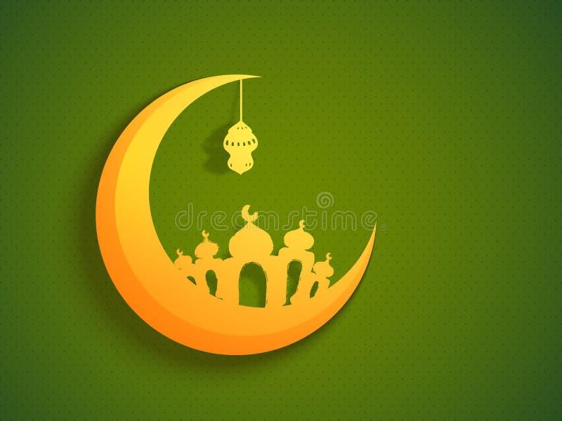 Gouden Maan, Moskee en Lamp voor Ramadan stock illustratie