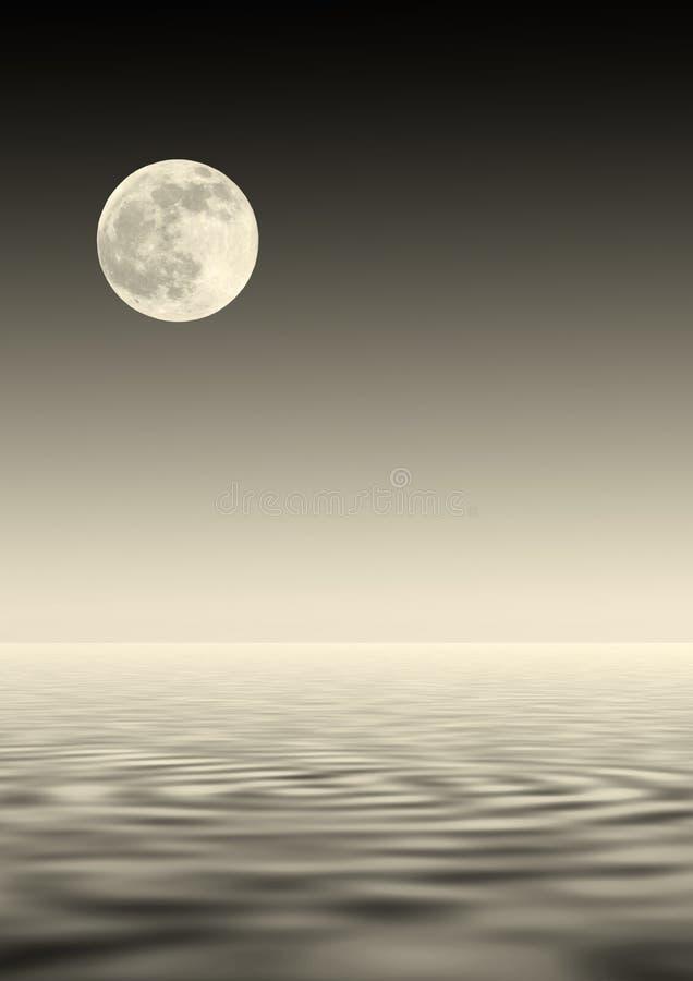 Gouden Maan over Water stock illustratie