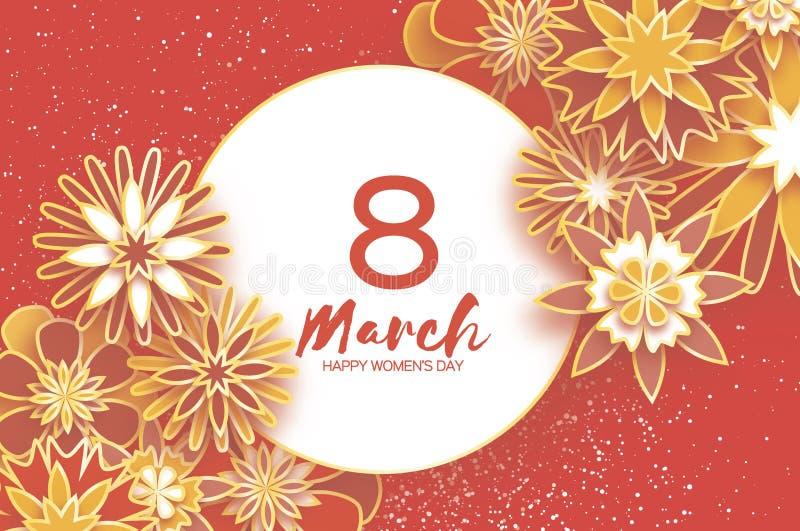 Gouden 8 Maart Gelukkige Vrouwen` s Dag In Moeder` s Dag Het document sneed Bloemengroetkaart De bloem van de origami tekst Plaat royalty-vrije illustratie