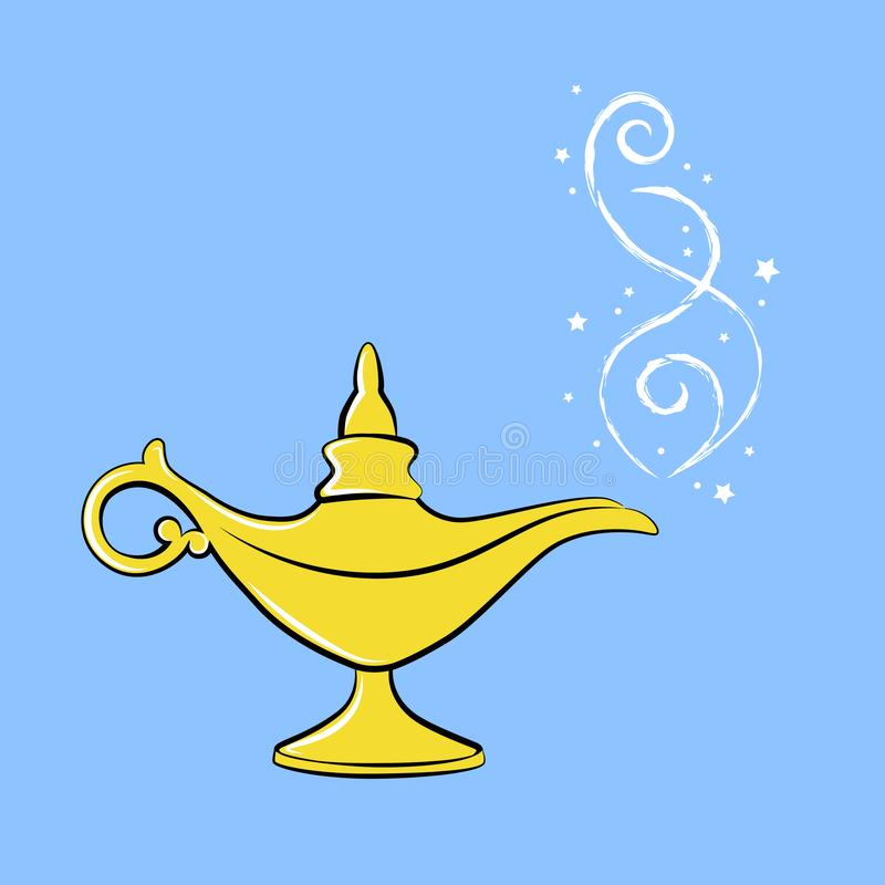 Gouden magisch lamp Arabisch sprookje drie wensen royalty-vrije illustratie