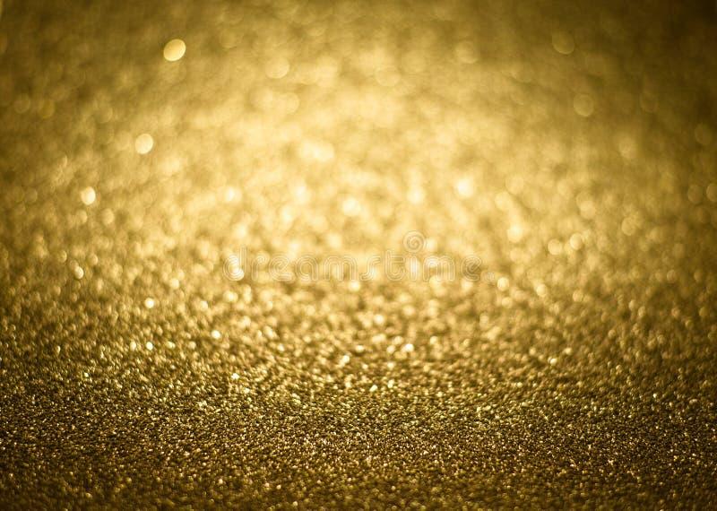 Gouden Magische Glanzend schittert decoratieve textuur, metaal geweven stock fotografie