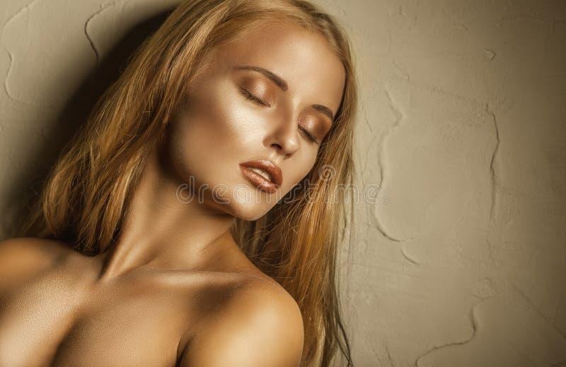 Gouden Make-up royalty-vrije stock afbeelding