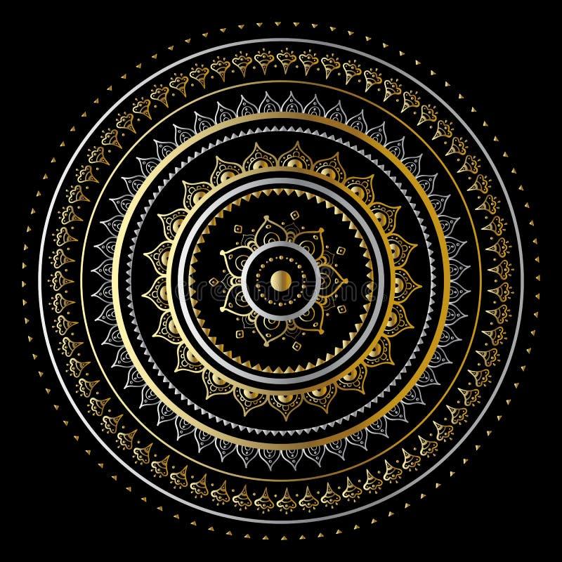 Gouden mandala stock illustratie