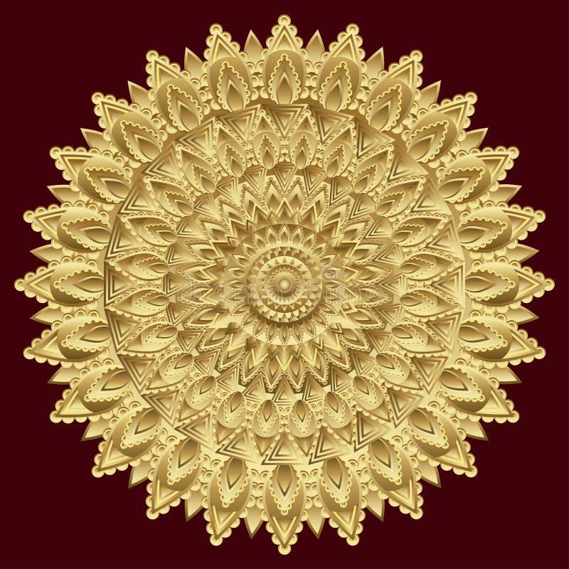 Gouden mandala, Indisch ornament Het oosten, etnisch ontwerp, oosters patroon, rond goud Luxe, kostbaar juweel, duur sierzaagwerk vector illustratie