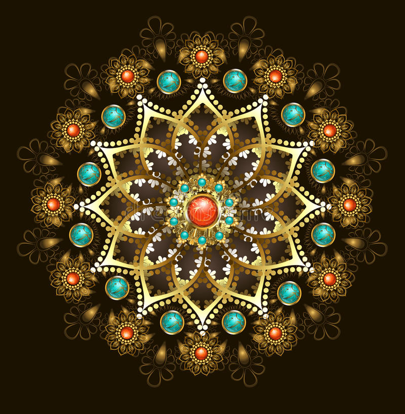 Gouden mandala met turkoois royalty-vrije illustratie