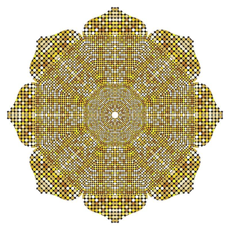 Gouden Mandala-textuur met gouden mozaïeken in de Byzantijnse stijl/het Antieke mozaïek/de Mozaïektegels in antieke stijl Keitext royalty-vrije illustratie