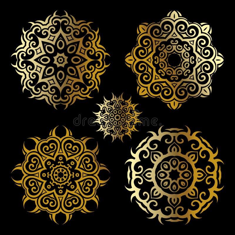 Gouden mandalareeks vector illustratie