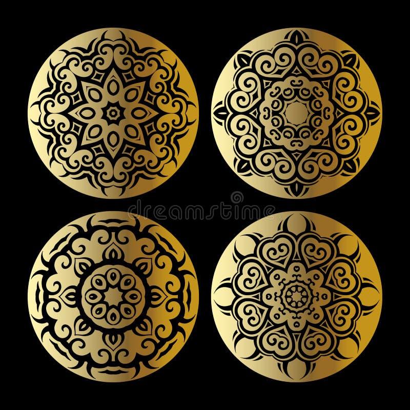Gouden mandalareeks royalty-vrije illustratie