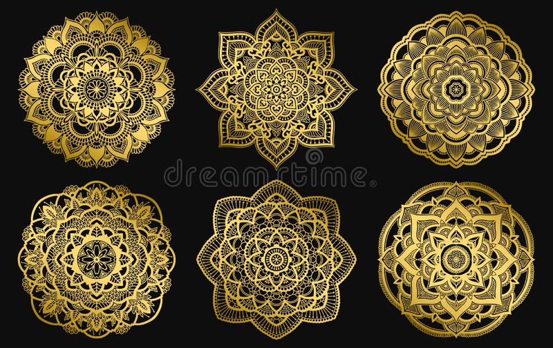Gouden mandalasontwerp Etnisch rond gradi?ntornament Hand getrokken Indisch motief Het thema van de de yogahenna van de Mehendime vector illustratie