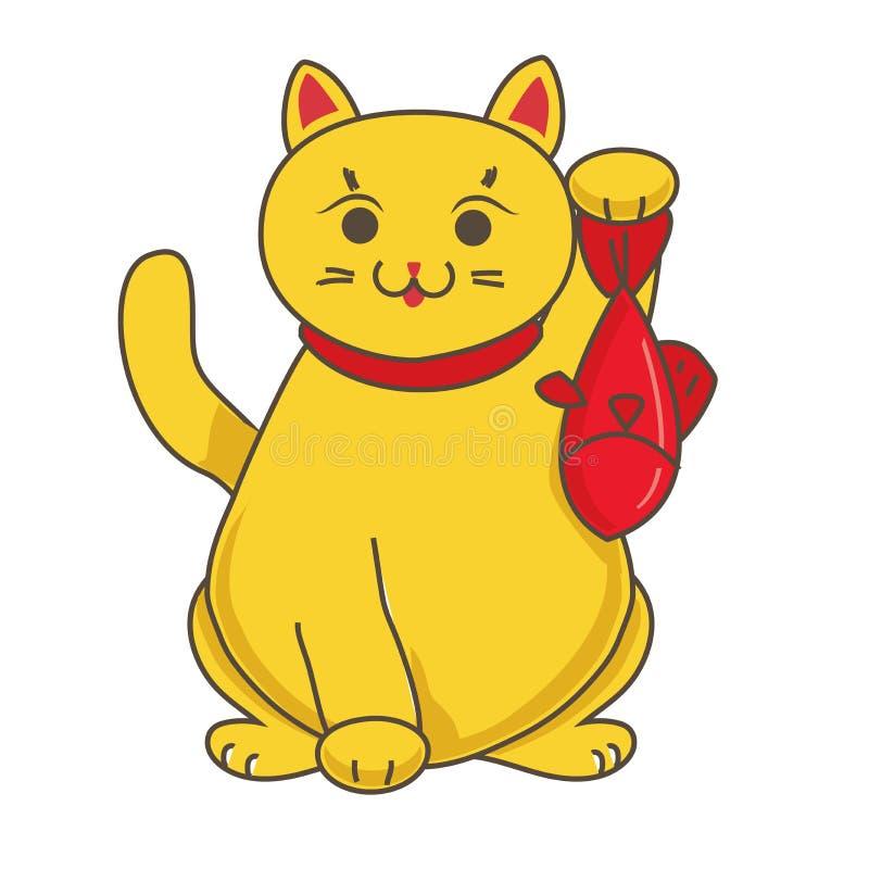 Gouden Maneki-neko/neco met vissen, een kat met een opgeheven symbool van het poot Japans geluk, illustratie, royalty-vrije illustratie