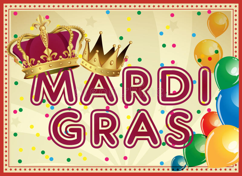Gouden Mardi Gras-ontwerpelement Carnaval-Achtergrond Twee Carnaval-kronen royalty-vrije illustratie