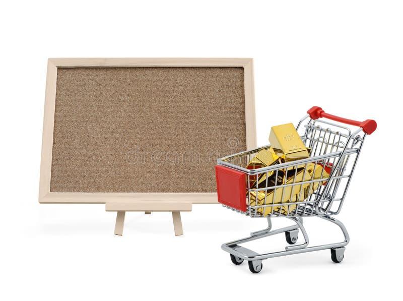 Gouden markt met cork raad royalty-vrije stock afbeelding