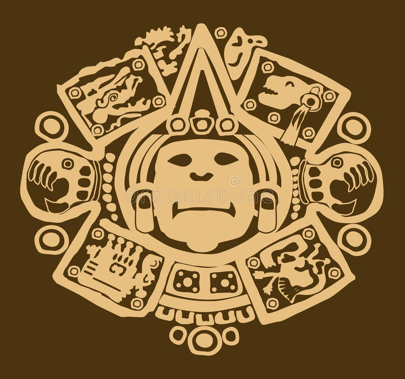 Gouden Mayan ontwerp op bruin royalty-vrije illustratie