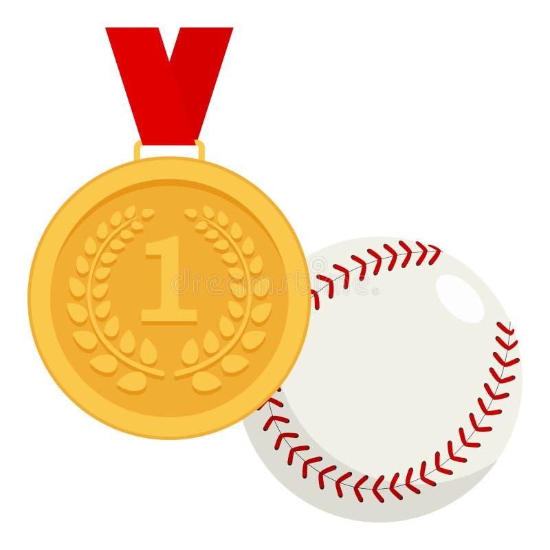 Gouden Medaille en het Vlakke Pictogram van de Honkbalbal vector illustratie