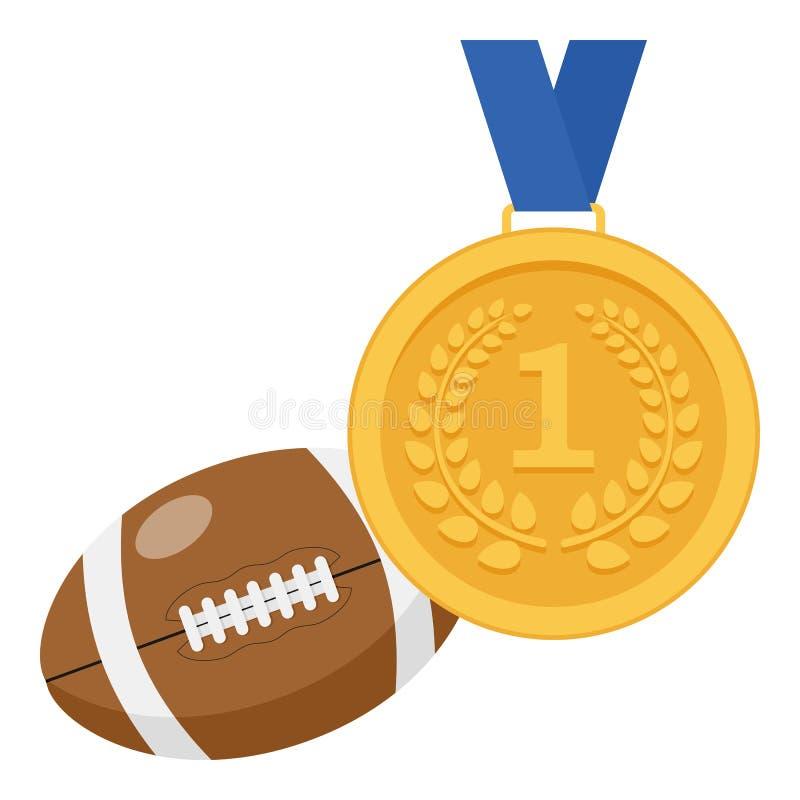 Gouden Medaille en het Vlakke Pictogram van de Rugbybal stock illustratie