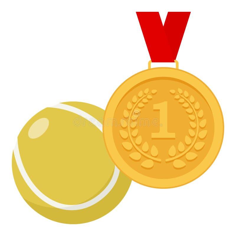 Gouden Medaille en het Vlakke Pictogram van de Tennisbal royalty-vrije illustratie
