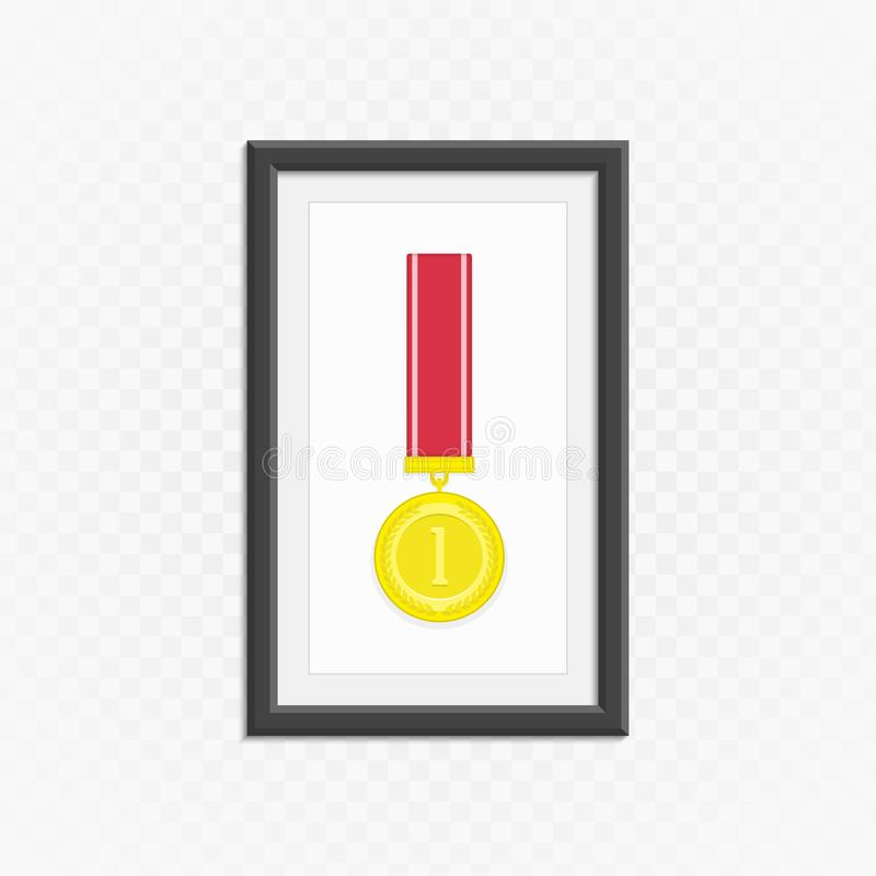 Gouden medaille in kader stock illustratie