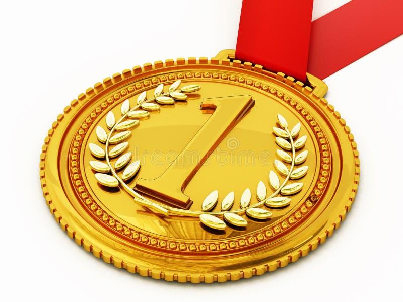 _gouden medaille met aantal één en laurels 3D Illustratie royalty-vrije illustratie