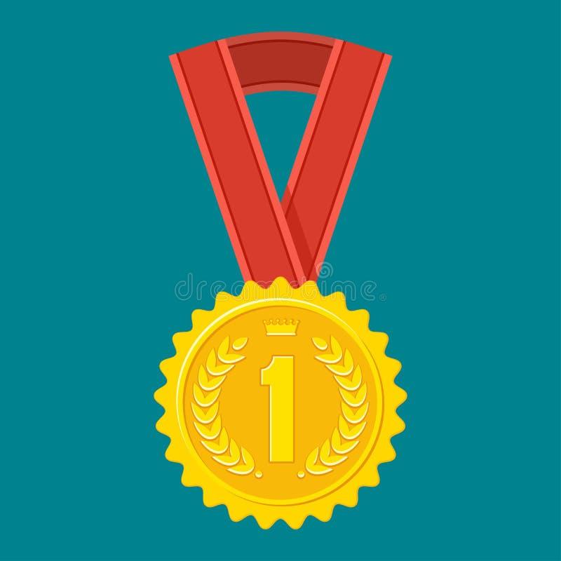Gouden medaille op blauw royalty-vrije illustratie