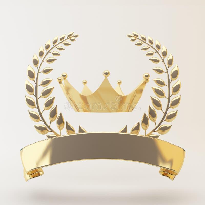 Gouden medaille 1st plaats op een witte 3d achtergrond vector illustratie
