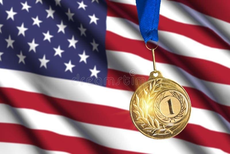 Gouden medaille tegen de vlagachtergrond van de V.S. royalty-vrije stock afbeeldingen