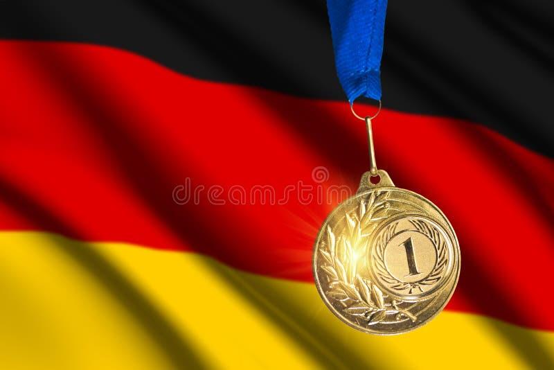Gouden medaille tegen Duitse vlagachtergrond stock foto
