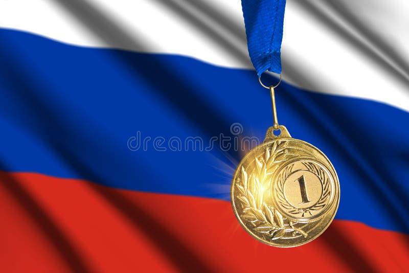 Gouden medaille tegen Russische vlagachtergrond stock fotografie
