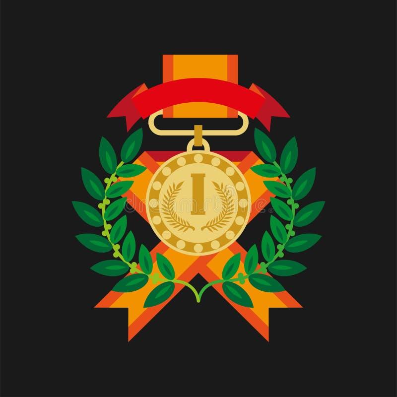 Gouden medaille voor eerste plaats met lauwerkrans grafisch pictogram stock illustratie