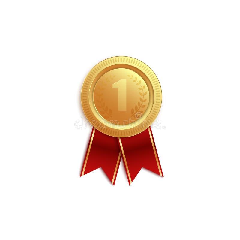 Gouden medaillepictogram voor eerste plaats met rode linten voor de winnaar royalty-vrije illustratie