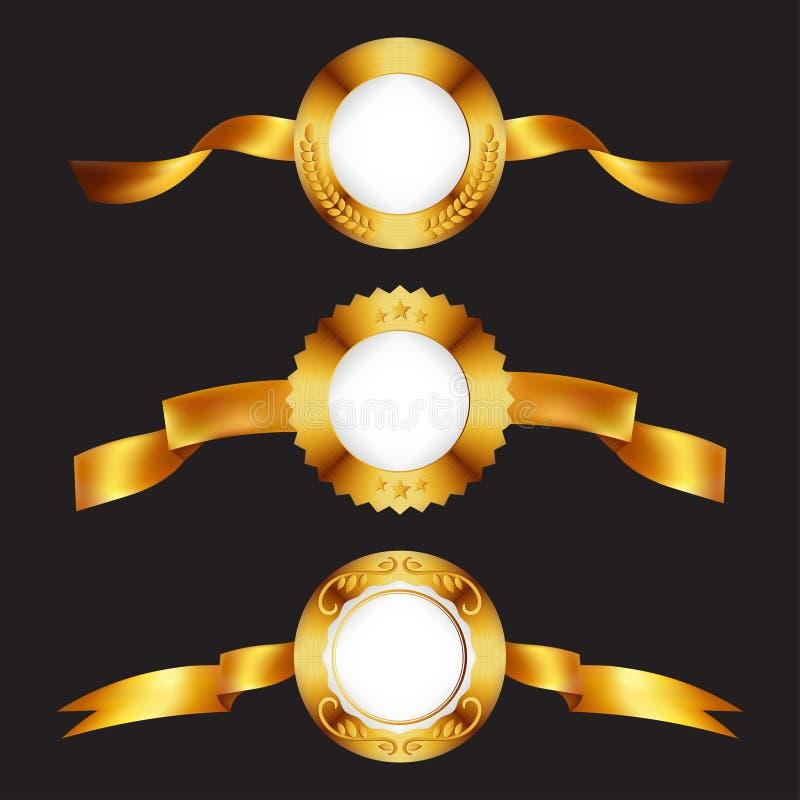 Gouden medailles Gouden metaalkentekens met linten royalty-vrije illustratie